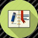 agenda, book, files, open, page, paper, text icon