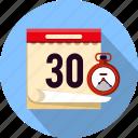 business, calendar, clock, date, event, schedule, stopwatch icon