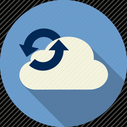 arrow, cloud computing, computing, download, forecast, internet, network icon