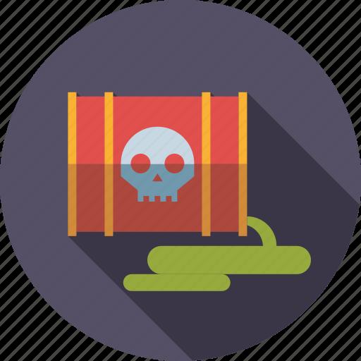 barrel, damage, environment, leaking, poisonous, toxic, waste icon