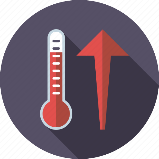 arrow, climate change, environment, rising, temperature, thermometer icon