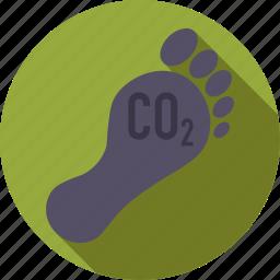 carbon, environment, foot, footprint icon
