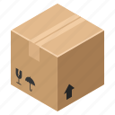 board, box, cardboard, carton, case, crate, cube, delivery, flatt3d, isometric, pack, package, packaging, packet, paperboard, pasteboard, ship, shipment, shipping icon