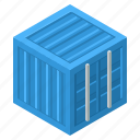 container, export, import, trailer, crate, shipment, shipping icon