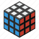 box, cube, flatt3d, game, gift, isometric, play, present, rubik, toy, toys icon
