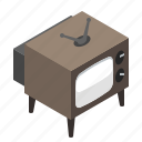 antenna, black white, classic, entertainment, flatt3d, hexagon, isometric, media, movie, old, television, tube, tv, video, vintage, youtube icon