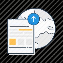 data, network, publish, upload, uploading, world, www icon