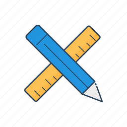 custom, design, drawing tool, measure, pencil, scale, sketch icon
