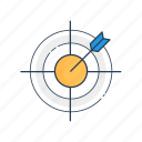 aim, arrow, bullseye, goal, planning, strategy, target icon