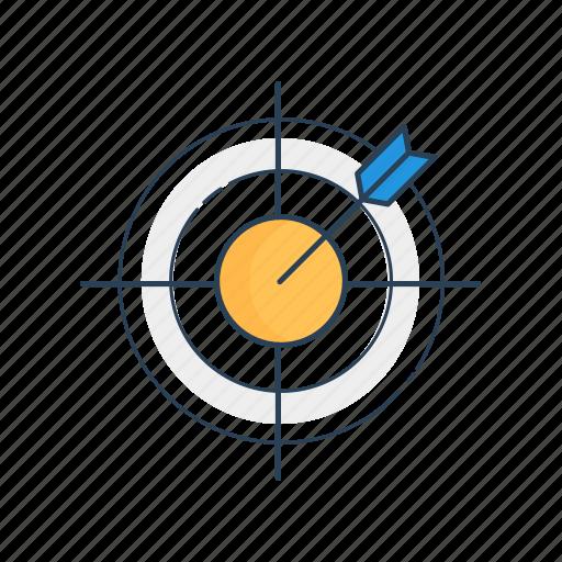 aim, arrow, bullseye, goal, planning, strategy, target icon