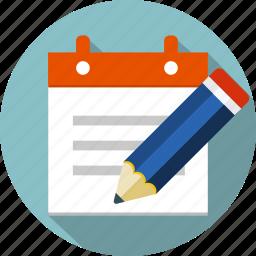 checklist, document, list, notepad, paper, pen, pencil icon