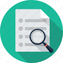 document, file, magnifying glass, page, paper, scan, search icon