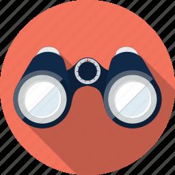 binoculars, eye, find, location, view, watch, zoom icon