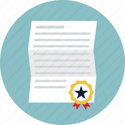 certificate, degree, diploma, licence, patent, prize, ribbon icon