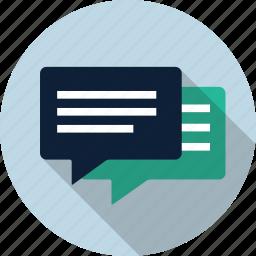 chat, chat bubble, comment, dialog, speak, speech, talk icon