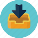 arrow, backup, box, download, inbox, mail box icon
