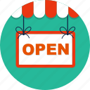 commerce, doorhandle, open, open shop, shop, shopsign, store icon