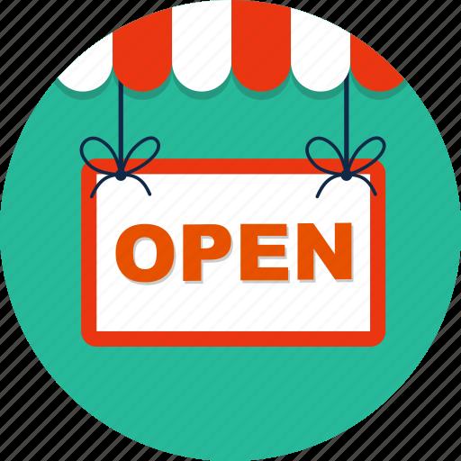 commerce, doorhandle, open, open shop, shop, shopsign, store icon