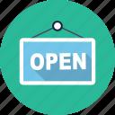 open, door, door sign, doorhandle, shop, store, sign