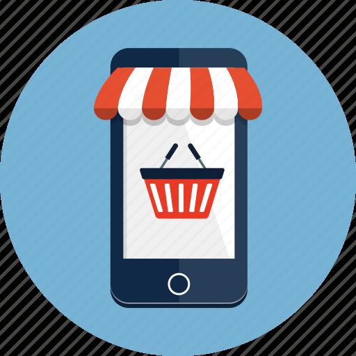 awning, basket, ecommerce, mobile, phone, shop, shopping icon