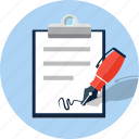 contract, document, signature, signing icon