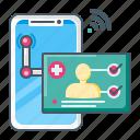 diagnostic, diagnosis, healthcare, doctor, telemedicine, smartphone icon