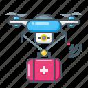 pharmacy, drugs, pills, drone, quadcopter, telemedicine icon