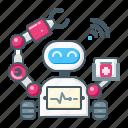 robot, asisting, machine, healthcare, medical, telemedicine, robotic icon