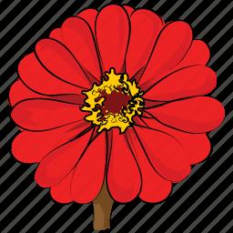 blossom, flower, gerbera, gerbera daisy, gerbera flower, red gerbera, zinnia icon