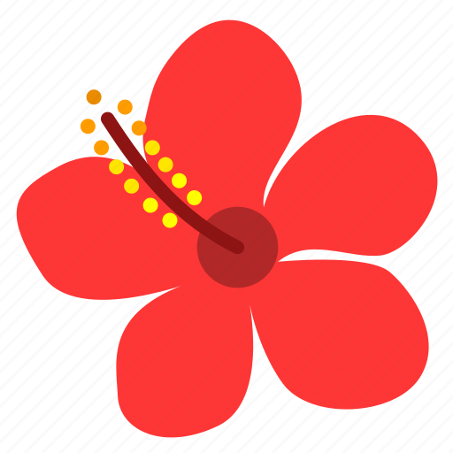 blossom, floral, flower, hibiscus, petals, plant, red icon