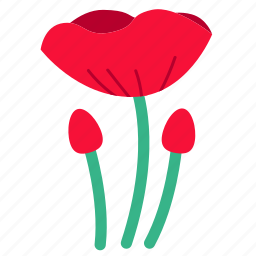 floral, flower, flowers, opium, poppy, red, wildflower icon