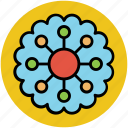created flower, creative, dotted leafs, flower, round flower icon