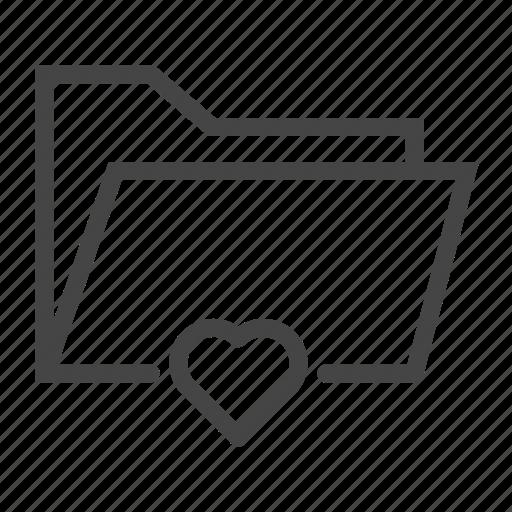document, favorite, file, folder, heart, love, paper icon