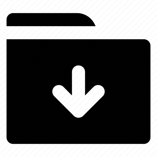 arrow, data, document, down, folder icon