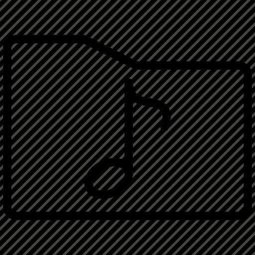 audio, folder, line, media, multimedia, music, note, sound icon