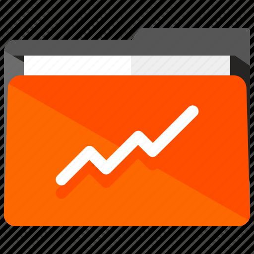 analytics, archive, folder, graph, line, statistics icon