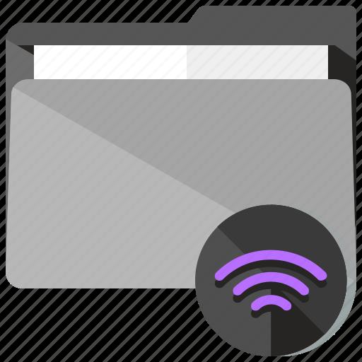 archive, folder, internet, share, wifi icon