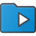 directory, folder, media, play icon