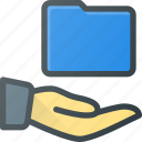 directory, folder, hand, hold, share icon