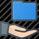 directory, folder, hand, hold, share