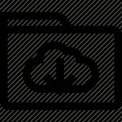 arrow, cloud, down, folder icon