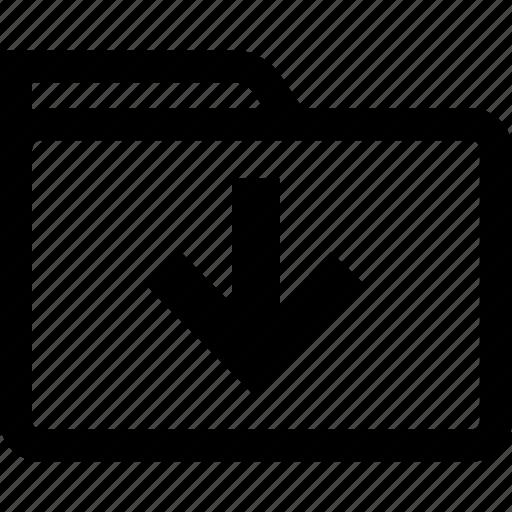 down, download, files, folder icon