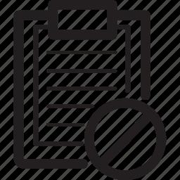 block, clipboard, prohibited icon