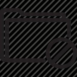 block, folder, prohibited icon