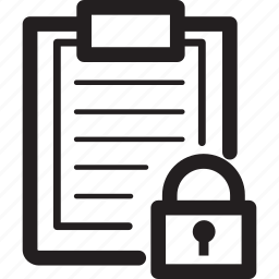 clipboard, lines, lock, privacy, security icon
