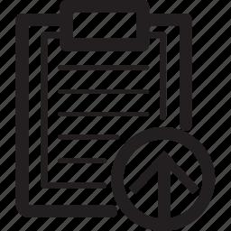 arrow, clipboard, lines, move, up icon