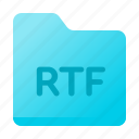 document, file type, folder, page, paper, rtf icon