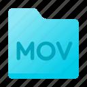 document, folder, format, mov icon