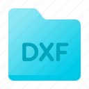 dxf, extension, file, folder, format icon