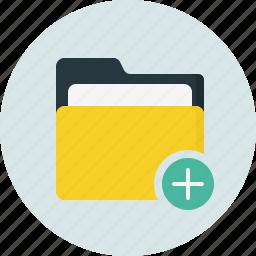 add, close, doc, document, folder icon